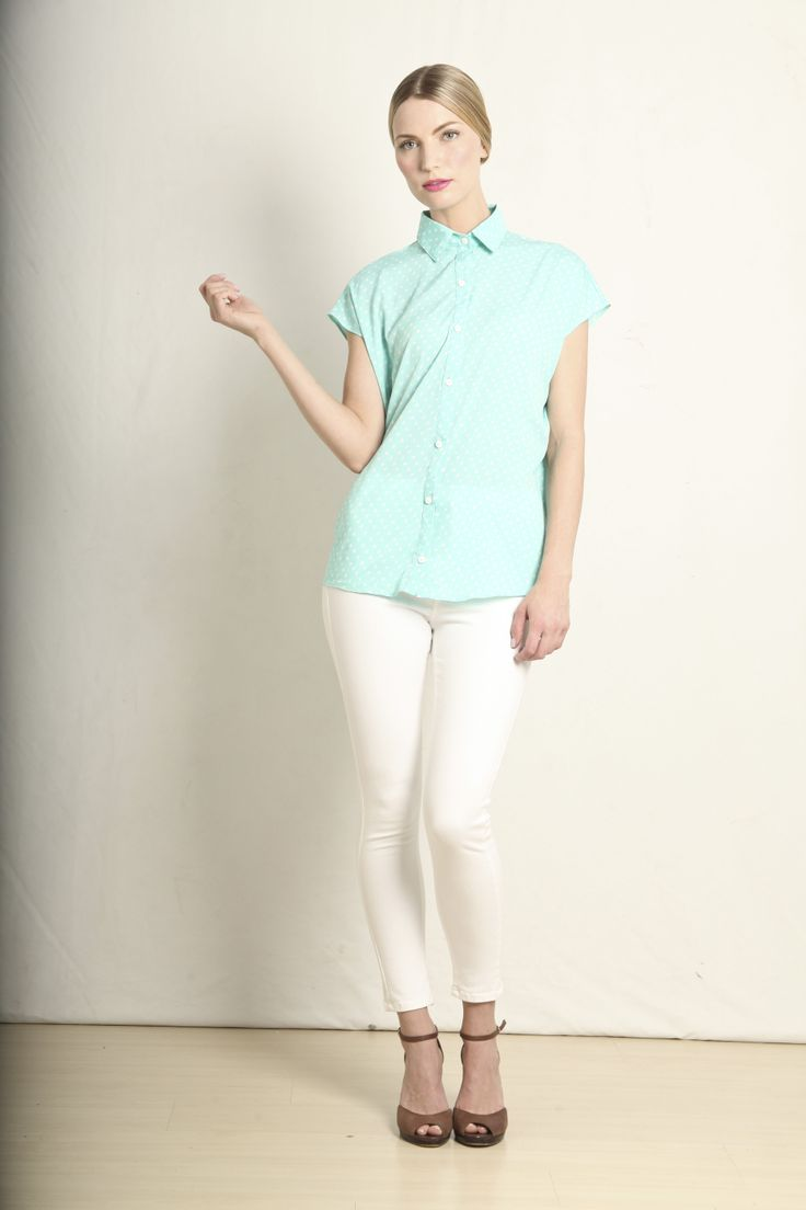 Summer shirt in mint polka dot  GB213-MNT  R399.00  www.georgieb.com