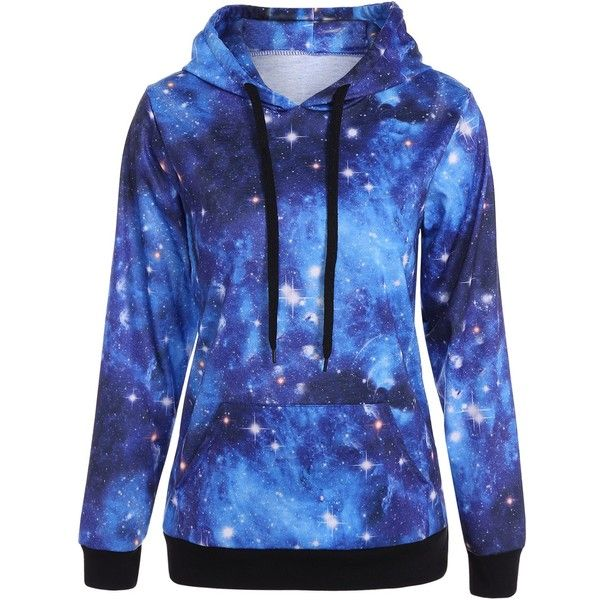 Pullover Galaxy Print Drawstring Hoodie (£12) ❤ liked on Polyvore featuring tops, hoodies, jackets, shirts, sweatshirts, plus size hoodie, plus size shirts, galaxy hoodie, hoodie shirt and women's plus size tops