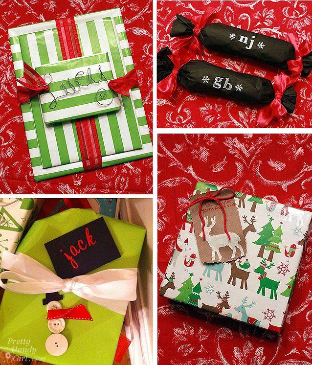 precious gift wrap ideas....love the wire name...love the xmas tree
