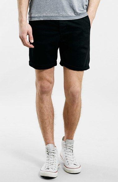 $40, Black Shorts: Topman Black Chino Shorts. Sold by Nordstrom. Click for more info: http://lookastic.com/men/shop_items/219406/redirect