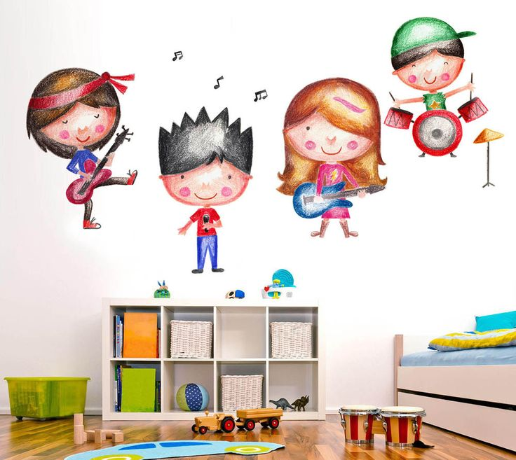 Rock band stickers, Guitar Sticker, Music Wall Decal, Kids Decor, Wall decals for kids by LindaWallStickers on Etsy