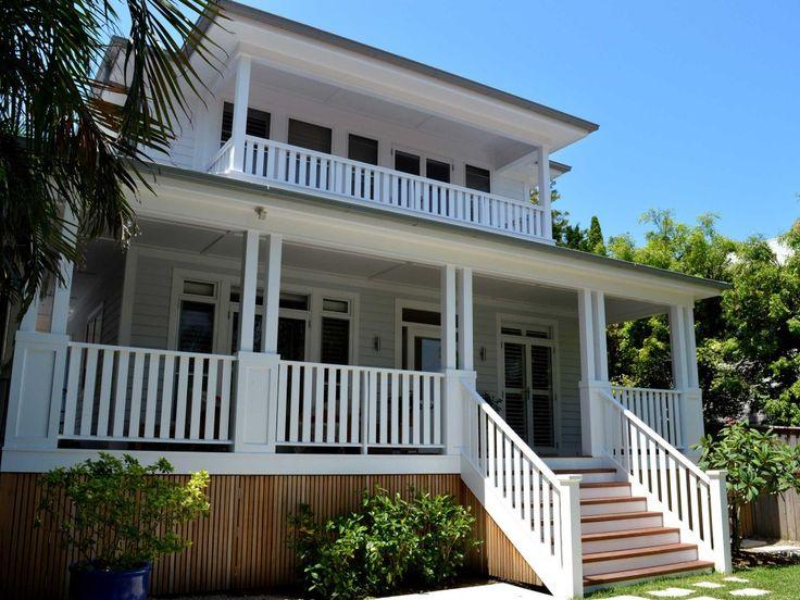 Stritt Design & Construction   Whale Beach House by Stritt Design. White weatherboard, wrap around verandah.
