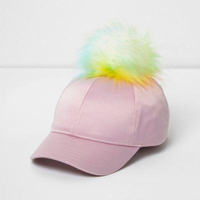 River Island Mini girls pink satin pom pom baseball cap
