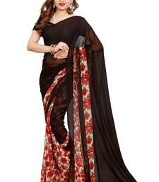 Buy black printed faux_georgette saree With Blouse party-wear-saree online