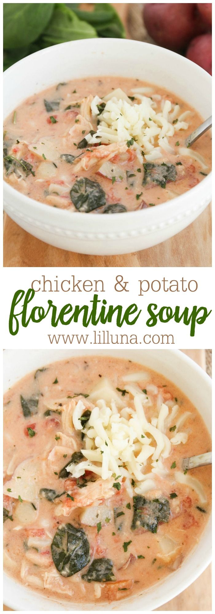Chicken and Potato Florentine Soup recipe. Lots of flavor with chicken, potatoes, tomatoes, beans, & spinach! Yum!
