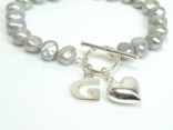 Personalised Silver Grey Baroque Pearl Bracelet: www.pearlisland.co.uk