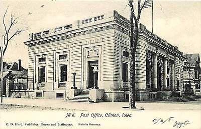 Clinton Iowa IA 1906 Post Office Antique Vintage Undivided Back Postcard
