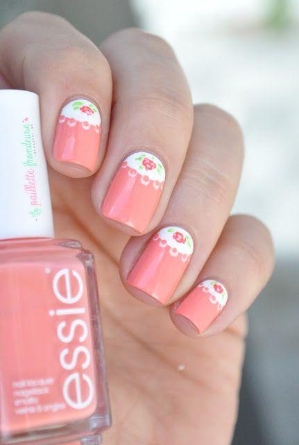 essie summer 2015 peach side babe romantic roses half moon nail art