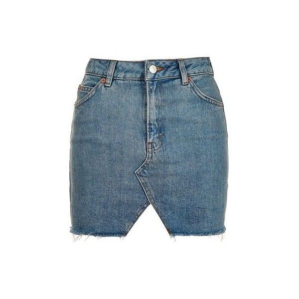 TopShop Moto Denim Cut Out Mini Skirt ($55) ❤ liked on Polyvore featuring skirts, mini skirts, bottoms, mid stone, short skirts, denim skirt, blue mini skirt, blue denim skirt and short mini skirts