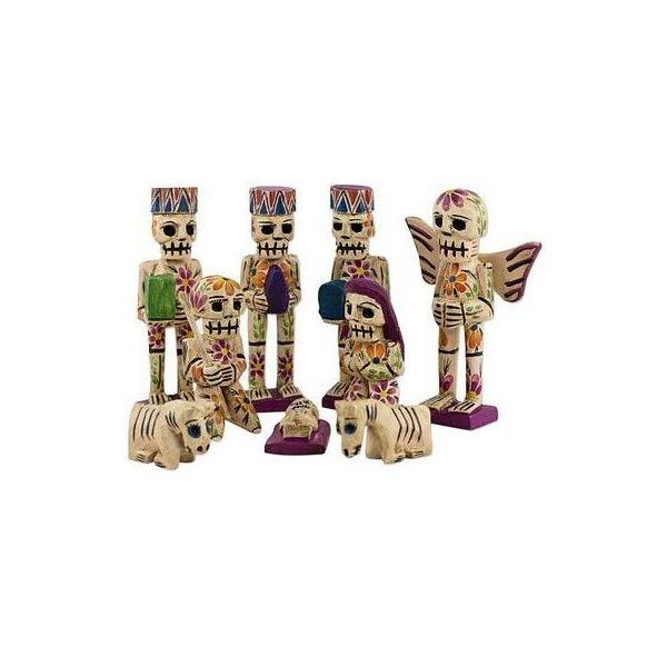 NOVICA Rustic Style Pinewood Hand Crafted Nativity Scene (Set of 9) ($73) ❤ liked on Polyvore featuring home, home decor, holiday decorations, clothing & accessories, sculpture, angel figurines, skeleton figurine, novica home decor, carving sculpture and donkey figure