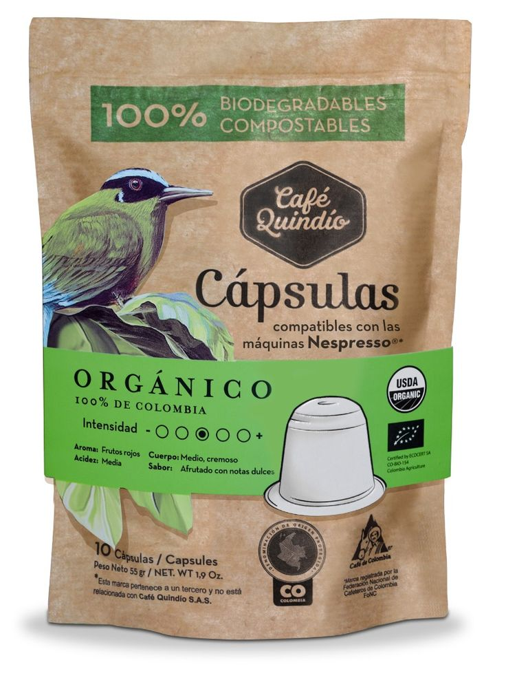 Café Quindío Organic-  Coffee Capsules (Compatible with Nespresso) 100% Biodegradables.