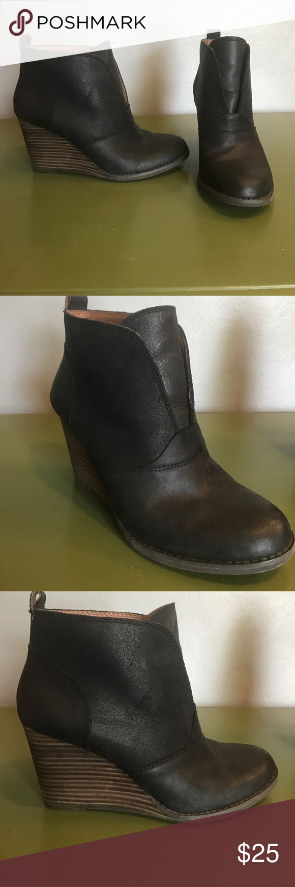 Lucky Brand black wedge boots Very cute Lucky Brand wedge black boot. Very comfortable and only worn a few times. Lucky Brand Shoes Ankle Boots & Booties