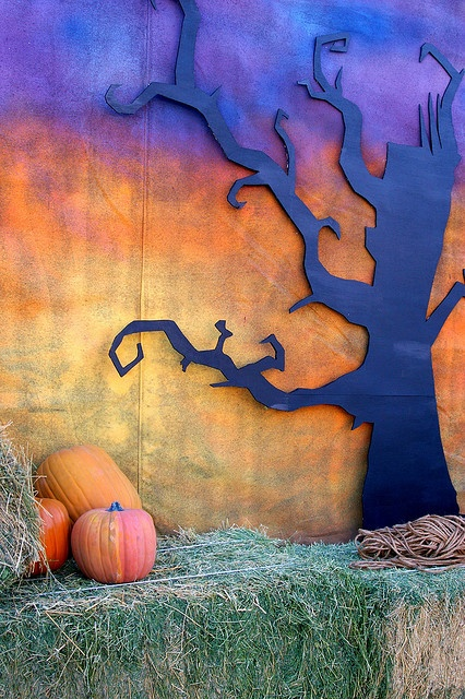 Fall Photo Backdrop: spooky back drop with blackish purple spooky tree and orange and yellow darkened sky; bail of straw and pumpkins at the forefront. Good for fall or Halloween party (don't forget some bats!):)