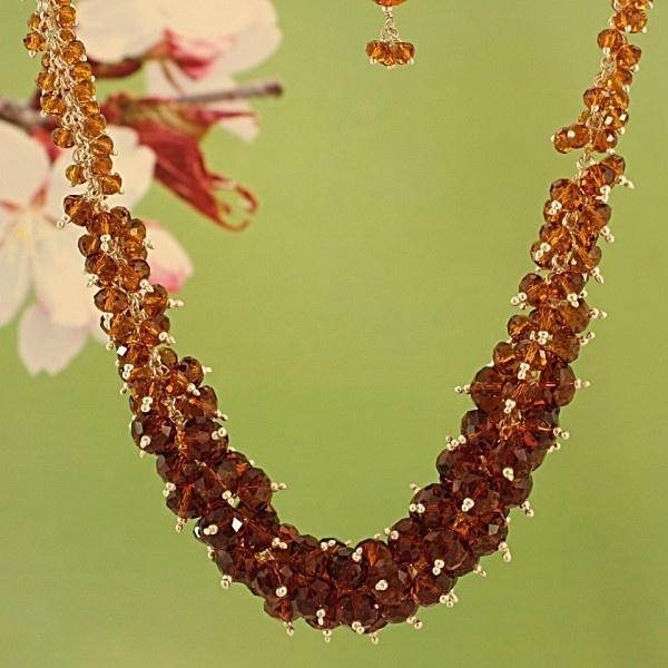 Honey Hued Tones 'Elegance' Crystal Necklace #jewelry #necklace #style #fashion