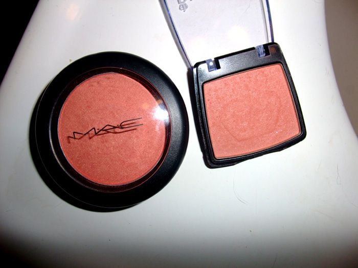 "MAC ""Style"" blush ~ A bright coral-peach with golden shimmer and with a frost finish. $21.00 CAD for a pro pan refill. Can Rimmel blush in ""Peach""be a dupe?"