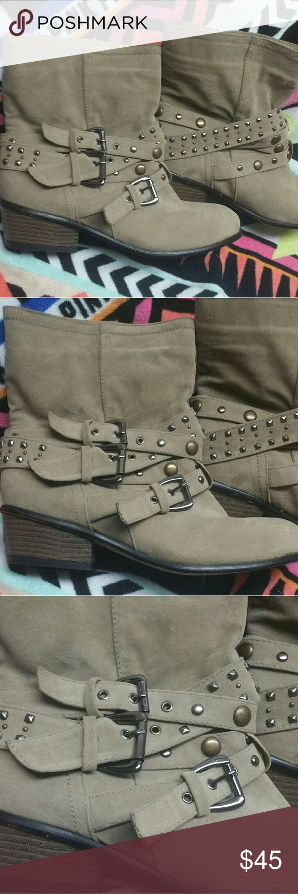 Moto tan buckled ankle boots 8/9 L Nwt Never worn. Fits 8/9 faux suede . Has a mark on side of boots. Cute! Probably will come out, didnt attempt to scrub on it yet. *not american apparel American Apparel Shoes Ankle Boots & Booties