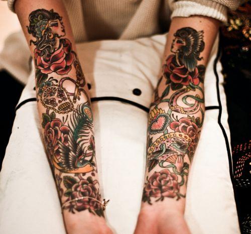 arms: Skull, Old Schools, Tattoo Sleeve, Sleeve Tattoo, Color, Oldschool, A Tattoo, Arm Tattoo, Vintage Tattoo