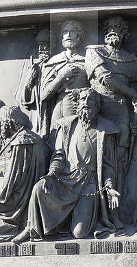 Александр Ярославич Невский — Александр Невский на памятнике «Тысячелетие России» в Великом Новгороде