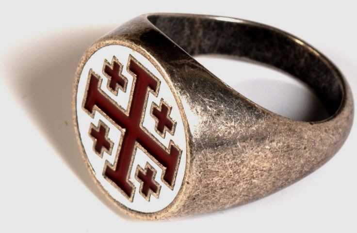 Gioielli Templari medievali : Anello Gerusalemme croce
