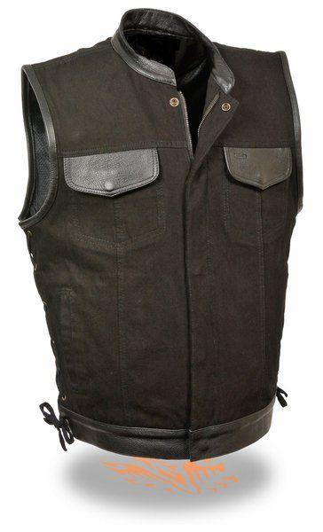 Mens Black Denim Motorcycle Vest Gun Pocket Leather Trim Side Laces