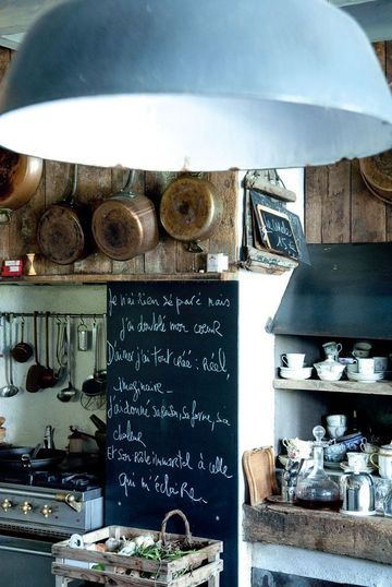 French kitchen - love the chalkboard and lighting
