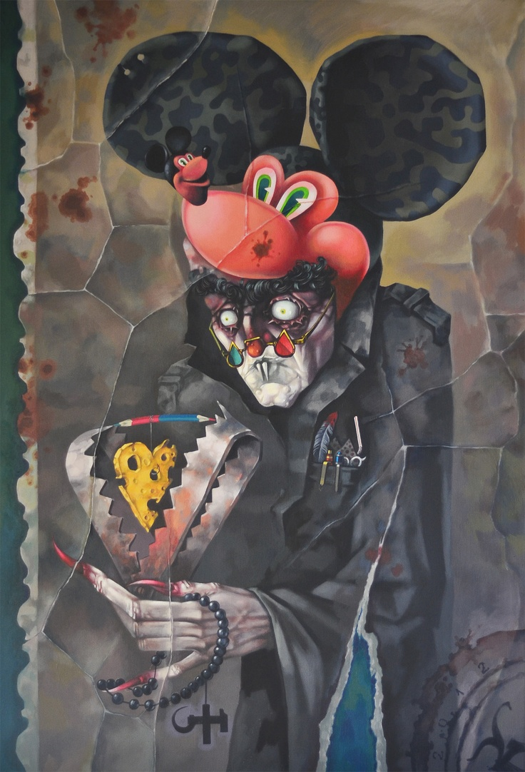 "From the series Dracolax +, I present you "" The Bitey Mouse ""  Acrylic on canvas  100x70 cm  ""DraColax +"" = Romanian post communist dark fantasies and scary tales"