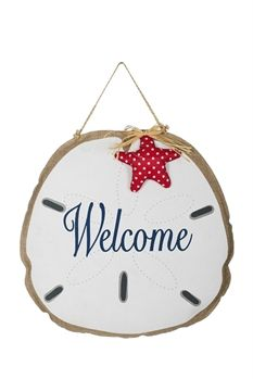 Sand Dollar Welcome Burlap Door Hanger