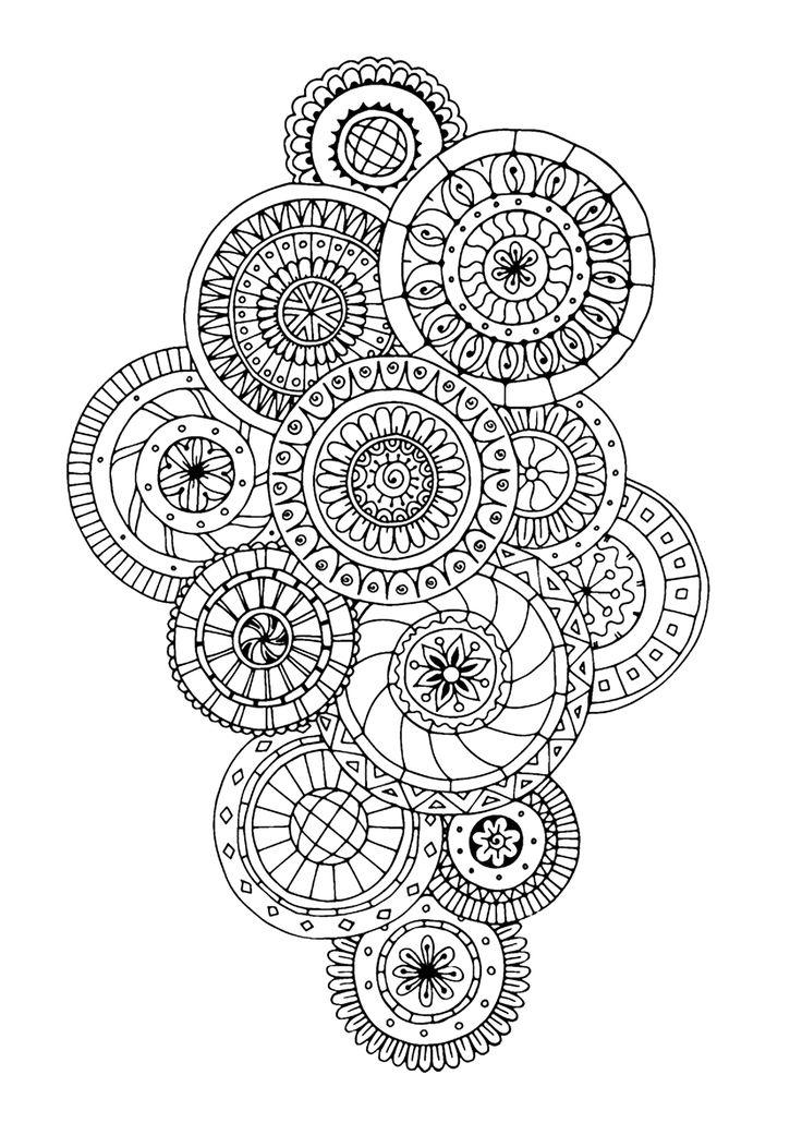 Coloriage 100% Anti-stress : motifs abstraits d'inspiration florale : n°5, Dans la galerie : Anti Stress, Artiste : Julias Negireva, Source :  123rf