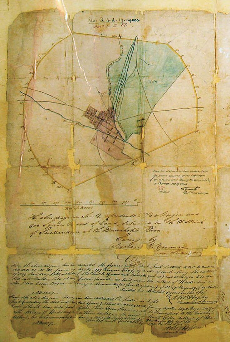 Part of the land grant for the farm Doornboom to Louis Fourie, which also shows later deductions from the farm (green shading) and the street grid for the village of Heidelberg, established in 1855. The Cape wagon road is shown running from west to east through the centre of the property, and the Duivenhoks Rivier from north to south