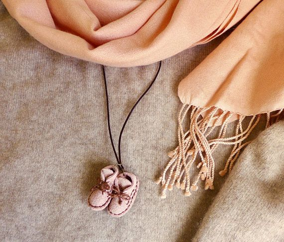Mini Leather Boots Necklace Pink Suede Leather Handstitched