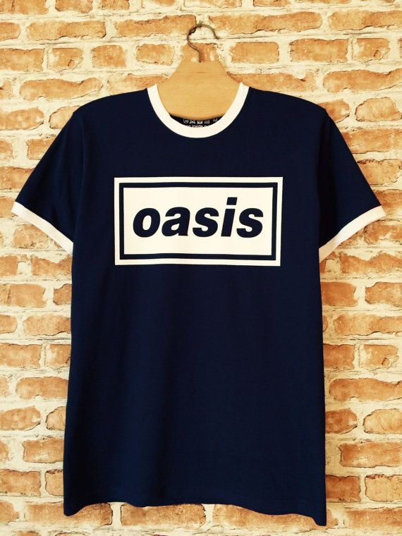 Oasis navy-blue ringer t-shirt by BADYOUTHTEES on Etsy
