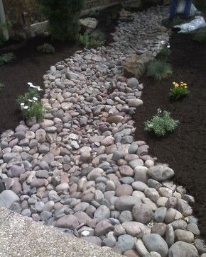 River Rock Dry Creek Swale Landscaping A Bed Design Ideas Pictures