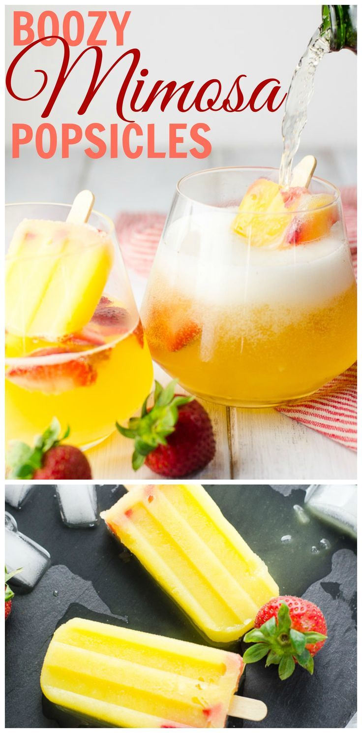 These boozy popsicle mimosas (poptails!), served in a glass of sparkling wine, are like: Hello inner child. Have a drink.