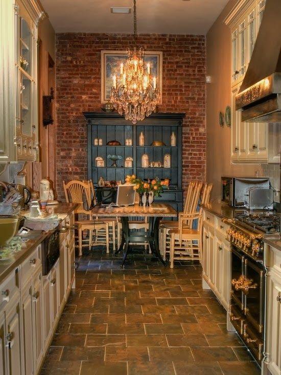 Shabby Chic Kitchen With Brickwork