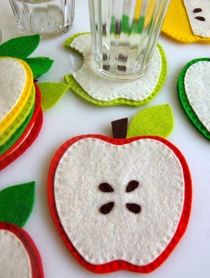 ARTE COM QUIANE - Paps, Moldes, E.V.A, Feltro e Costuras: Molde porta copo maçã
