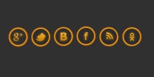 Желтые иконки социальных сетей в формате psd