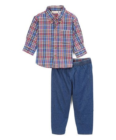 Blue Plaid Flannel Button-Up & Flannel-Lined Jeans - Infant #zulily…
