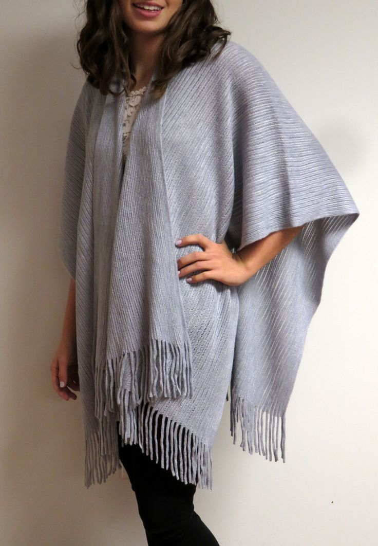 Beautiful warm ruana wrap silver grey great for casual and ...