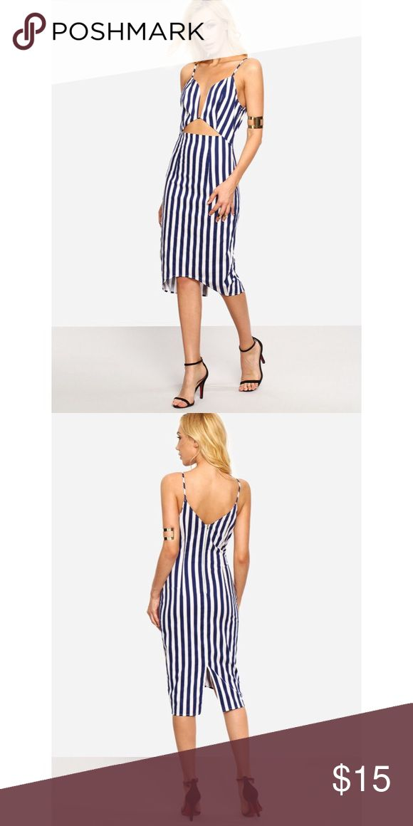 Blue and White Striped Dress ✨ NWOT ✨   Fun blue and white bodycon striped dress with front cutout and deep V. Dresses Midi