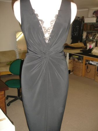 palm satin knot dress
