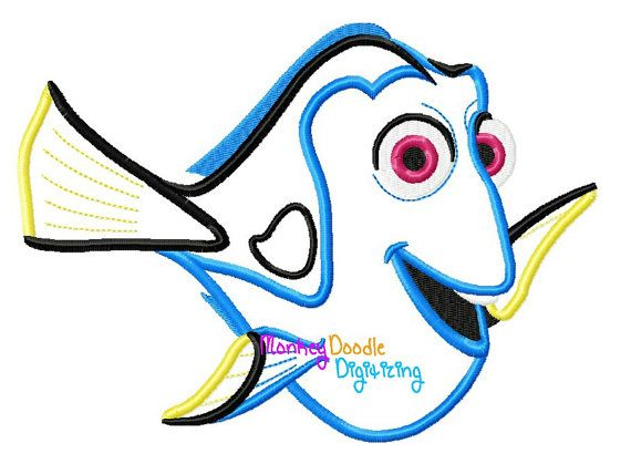Dory - Embroidery Machine Applique - Instant Download - finding Nemo Monkey Doodle Digitizing