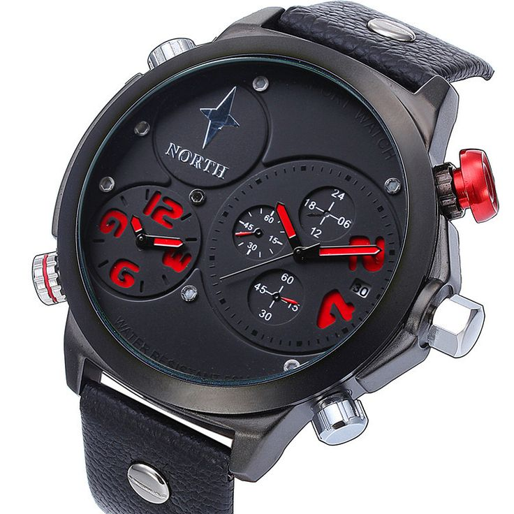 NORTH Fashion Multiple Time Zone Watch Men Military Watch Casual Sport Watches Quartz Wristwatch Relojes Hombre Male Hour Like if you are Excited! Get it here