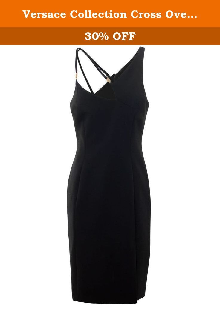 Versace Collection Cross Over Strap Dress US4-6 / UK10 Black. An elegant take on the one shoulder dress, the Versace Collection strap dress features an asymmetric neckline complemented by crossed over straps and branded metal hardware.