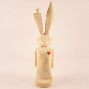Medium Wooden Rabbit with Tilted Ear