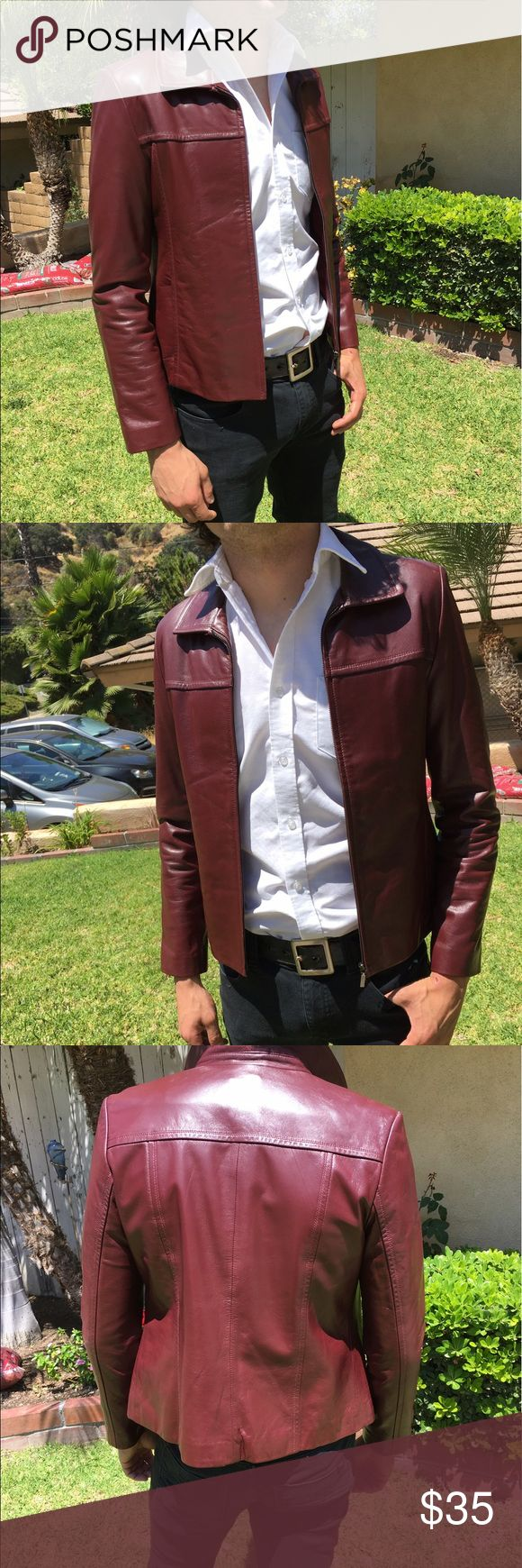 Fight Club Tyler Durdan Dark Red Leather Jacket!! Men's red leather jacket. Amazing fit. Perfect condition!!👍🏻 Jackets & Coats Utility Jackets