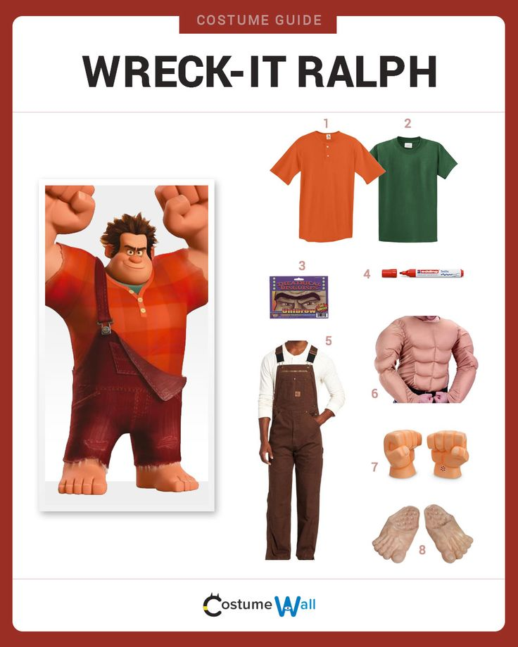 Dress Like Ralph from Wreck-It-Ralph. See additional costumes and cosplays of Ralph.