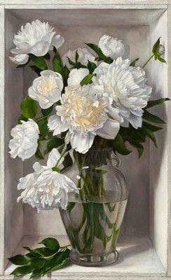 """Denise Mickilowski, """"White Peonie Burst,"""" 2014, oil on panel, 41 x 25"""", $15,000"""
