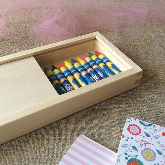 Crayon Gift Box, set of 2, Sliding Lid Box, Pencil Box, Desk Organizer