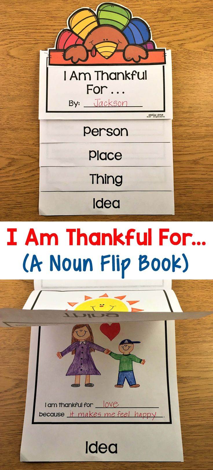 This cute Thanksgiving flip book not only helps your children express what they are thankful for, but it is also a great review on the definition of a noun! I have included two versions of this flip book: one where the children draw and label what they are thankful for and one where they also write a reason why they are thankful on each page. Your students will love taking their flip books home to share what they are thankful for with their families!