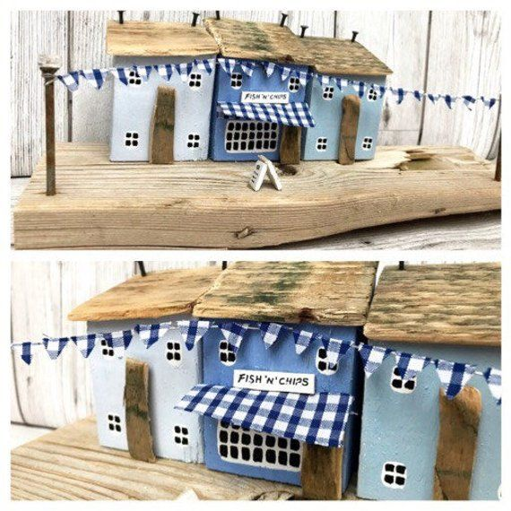 Personalised Driftwood art wooden house ornament and shop, birthday present idea Christmas gift for her